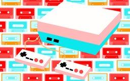 Vieille rétro console de jeu de hippie d'antiquité de vintage pour des jeux vidéo et deux manettes 80 du ` s, 90 ` s sur un fond  illustration de vecteur