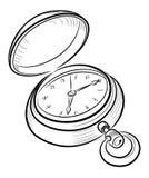 Vieille rétro horloge ouverte Illustration de Vecteur