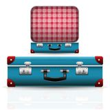 Vieille rétro valise ouverte et fermée de vintage Photographie stock libre de droits