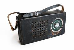 Vieille radio dans un cas en cuir Images stock