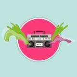 Vieille radio de vintage avec l'écoulement Photo stock