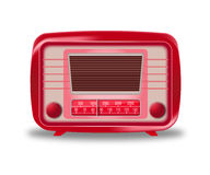 Vieille radio rouge sur le fond blanc Images libres de droits