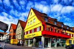 Vieille rue colorée de Biberach un der RIS Photos libres de droits