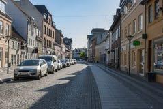 Vieille rue d'achats d'Odense Danemark Photographie stock libre de droits