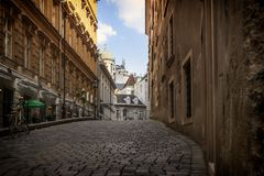 Vieille rue grecque de Vienne image stock