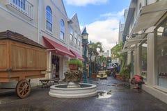 Vieille rue historique dans la capitale Philipsburg de St Martin image stock