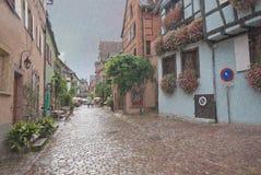 Vieille rue pavée en cailloutis européenne, Alsace, France Images libres de droits