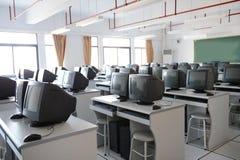 Vieille salle de classe d'ordinateur Images libres de droits