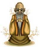Vieille sauge chinoise illustration de vecteur