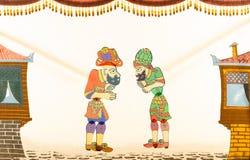 Vieille scène traditionnelle d'oyunu de Hacivat Karagoz de turc d'exposition de Ramadan Puppet Photo libre de droits