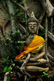 Vieille sculpture bouddhiste concrète dans l'action de méditation Photo libre de droits