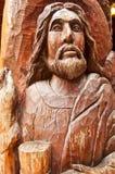 Vieille sculpture en bois en Jésus Photographie stock libre de droits