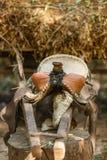 Vieille selle en cuir avec la tresse Images libres de droits
