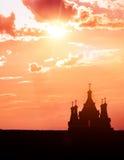 Vieille silhouette d'église Images libres de droits