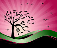 Vieille silhouette d'arbre, fond de saison illustration stock