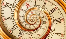 Vieille spirale antique de fractale d'abrégé sur horloge Observez le fond abstrait peu commun de modèle de fractale de texture de photos libres de droits