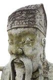 Vieille statue en pierre chinoise dans le wat PO Image libre de droits