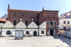 Vieille synagogue dans le secteur juif de Cracovie - kazimierz, Pologne photographie stock