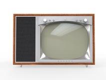 Vieille télévision de cru avec le cas en bois Photos stock