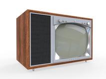 Vieille télévision de cru avec le cas en bois Photos libres de droits