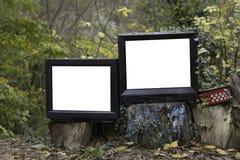 Vieille télévision deux dans la forêt Photos stock