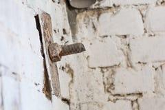 Vieille tête de vis dans la brique Image réaliste avec la vieille vis rouillée il Images libres de droits