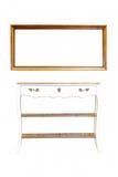 Vieille table en bois de trame et de cru d'isolement Photos stock