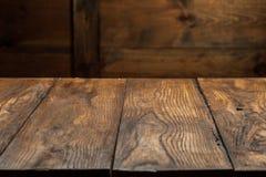 Vieille table en bois vide Photographie stock libre de droits