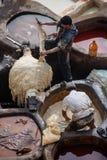 Vieille tannerie à Fez, Maroc Image stock