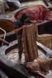 Vieille tannerie à Fez, Maroc Photographie stock libre de droits