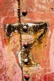 Vieille texture de fond en métal du numéro 7 rouges rouillés Photo libre de droits