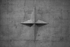 Vieille texture de mur Panneau gris de ciment, étoile images stock