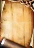 Vieille texture de papier avec une corde et une pipe Image libre de droits