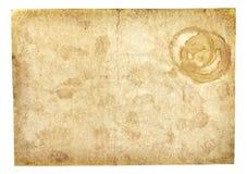 Vieille texture de papier de cru d'isolement sur le blanc Photo stock