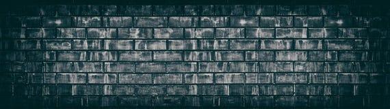 Vieille texture minable noire large de mur de briques Panorama âgé foncé de maçonnerie Fond grunge panoramique illustration libre de droits