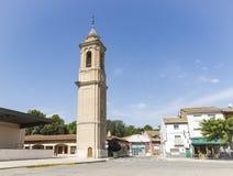 Vieille tour à la place de Espana de plaza en ville de Pina de Ebro, Saragosse, Aragon, Espagne Photo libre de droits