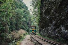 Vieille traînée au chemin de fer ou à la route de chemin de fer dans le paysage de montagne à l'été Photo libre de droits