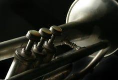 Vieille trompette argentée Image stock