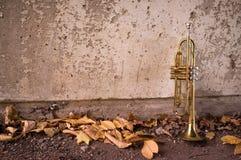 Vieille trompette Autumn Leaves Image libre de droits
