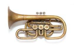 Vieille trompette d'en cuivre de cru Photos stock
