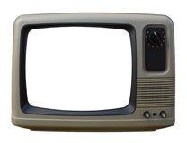 Vieille TV au-dessus d'un fond blanc Photos libres de droits