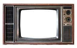 Vieille TV avec l'isolat d'écran de cadre sur le blanc photographie stock