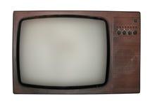 Vieille TV d'isolement au-dessus du fond blanc Images stock