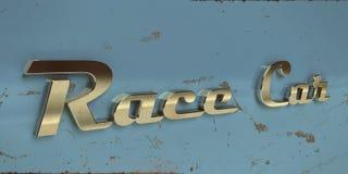 Vieille typographie de chrome de véhicule de chemin de cru Photographie stock