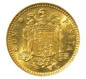 Vieille une pièce de monnaie d'Espagnol de peseta Inverse image libre de droits