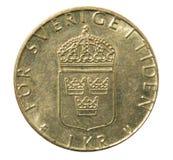 Vieille une pièce de monnaie de couronne de Swidish Inverse photos stock