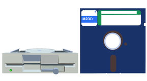 Vieille unité de disquettes et disquette  Images stock