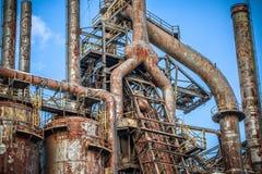 Vieille usine abandonnée de Bethlehem Steel d'usine sidérurgique Images libres de droits