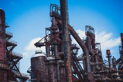 Vieille usine abandonnée de Bethlehem Steel d'usine sidérurgique Photo stock