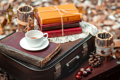 Vieille valise avec de vieux livres et tasse de thé Photographie stock